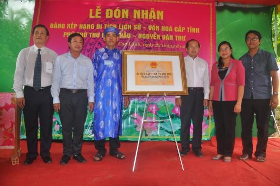 Phủ thờ Thư Ngọc Hầu – Nguyễn Văn Thư được xếp hạng di tích cấp tỉnh